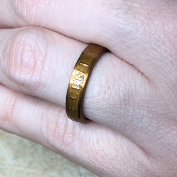 1982 US Vintage Lucky Penny Coin Ring Size 5 25